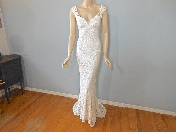 MERMAID Lace Wedding Dress Vintage Inspired Boho Wedding