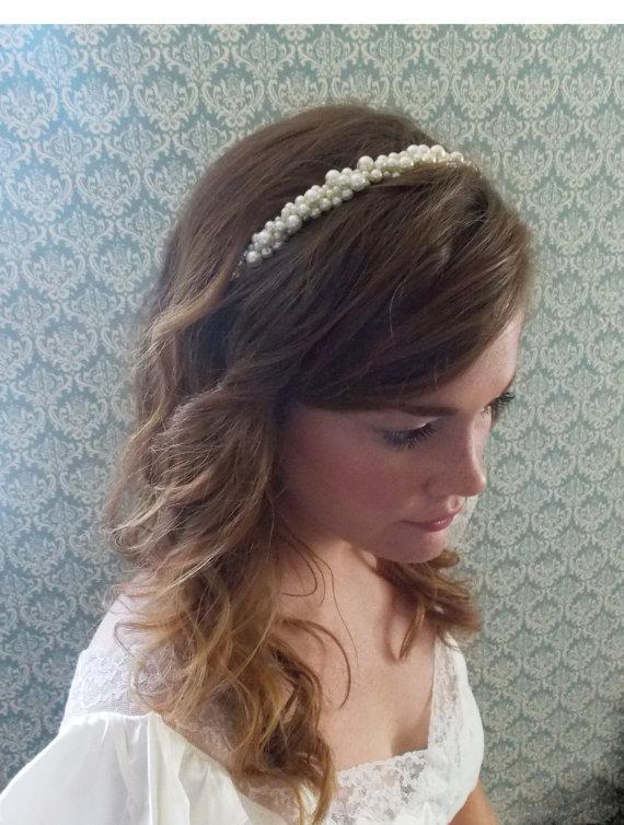 bridal headband pearl wedding hairband ivory pearl bridal hair accesory chunky pearl head band bridal pearl hair piece romantic bridal hair