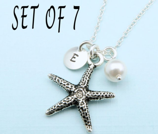 Set Of  Starfish Necklaces Beach Wedding Bridesmaid Gift Set Bridesmaid Necklace Beach Jewelry Personalized Bridesmaids Gifts Set