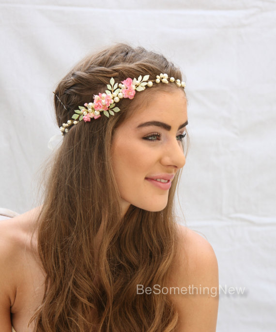 Rustic Wedding Flower Crown With Hand Painted Leaves And