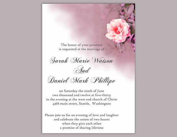diy wedding invitation template editable word file download printable coral invitation floral rose wedding invitation purple invitation 2364088 weddbook