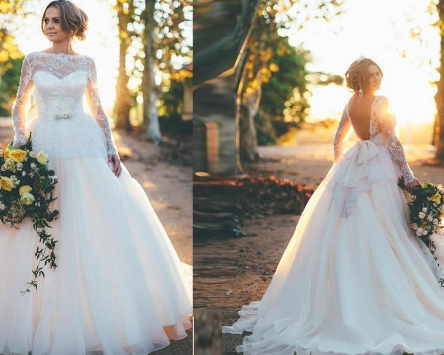 Charming Backless Long Sleeve Lace 2016 Wedding Dresses