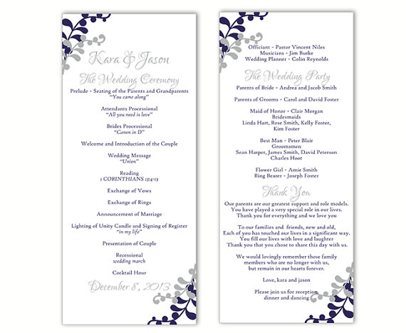 Wedding Program Templates Free Printable – Wedding Invitation Ideas