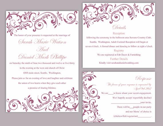 printable invitation purple wedding invitation eggplant invitations - Boutonnire Invit Mariage