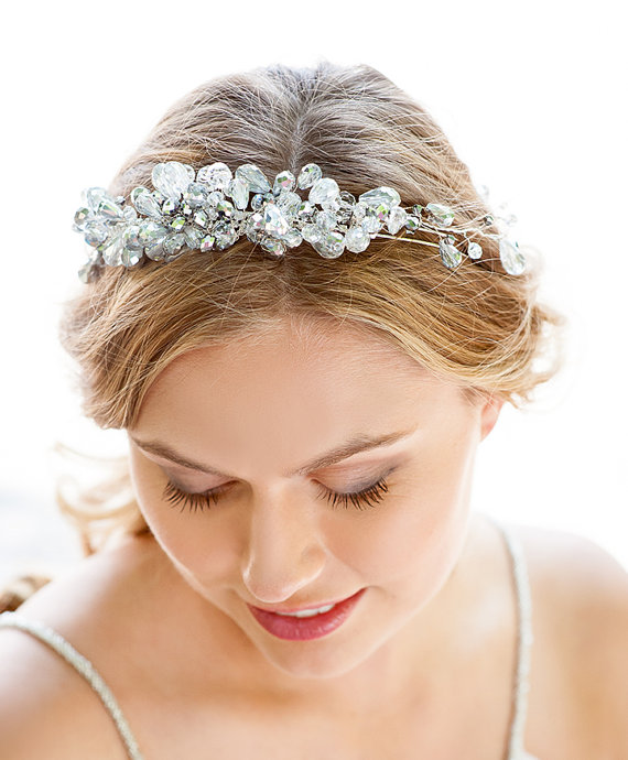 silver crystal bridal headband hair accessories nyc handmade bridal tiara online bride headband designer bridal hairpiece vintage crown