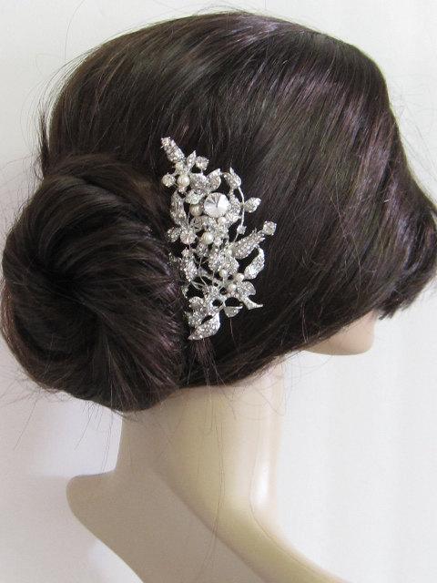 large crystal hair comb bridal hair comb wedding brooch comb bridal headpiece bridal hair accessories wedding pearl hair comb