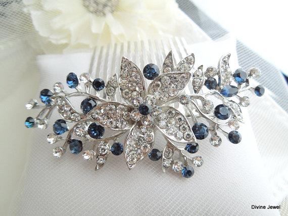 bridal blue swarovski crystal wedding comb wedding hair accessories vintage style blue leaf rhinestone bridal hair comb blue clip bride katy
