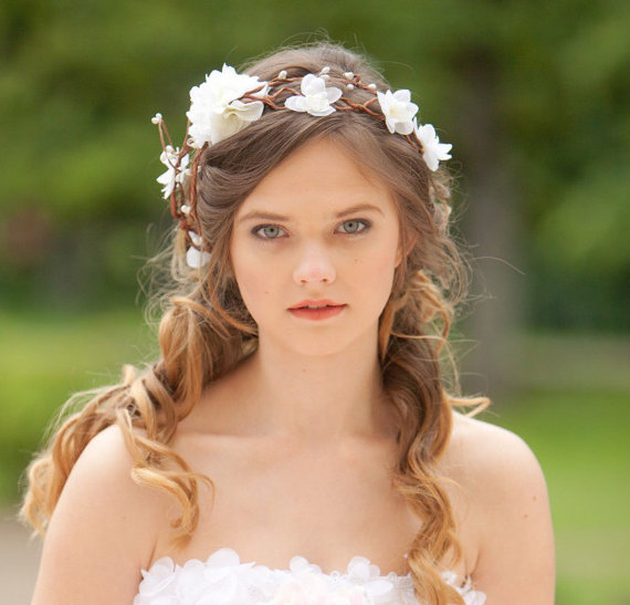 bridal hair accessories wedding flower headpiece white flower hair circlet rustic wedding flower crown hair wreath accessory