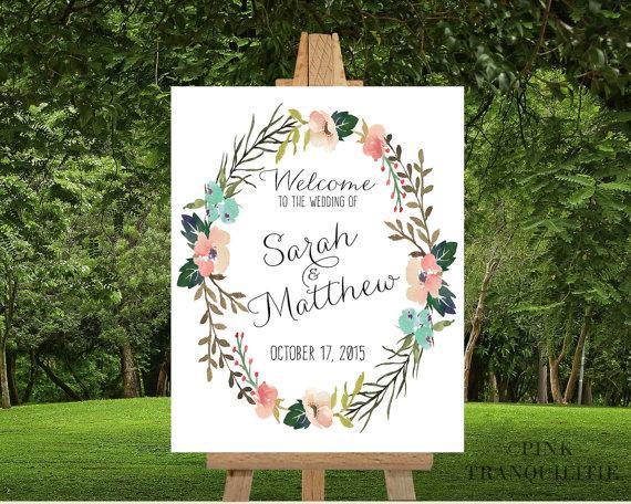 PRINTABLE Custom Wedding Welcome Sign Custom Names Custom