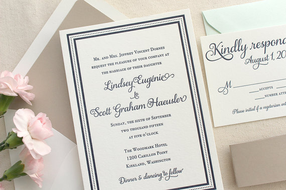 Tan Navy Blue Ivory Beach Bridal Shower Card