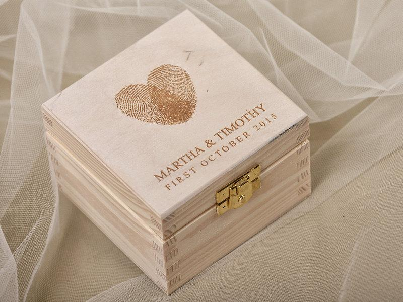 Fingerprint Wood Wedding Ring Bearer Box, Rustic Wooden