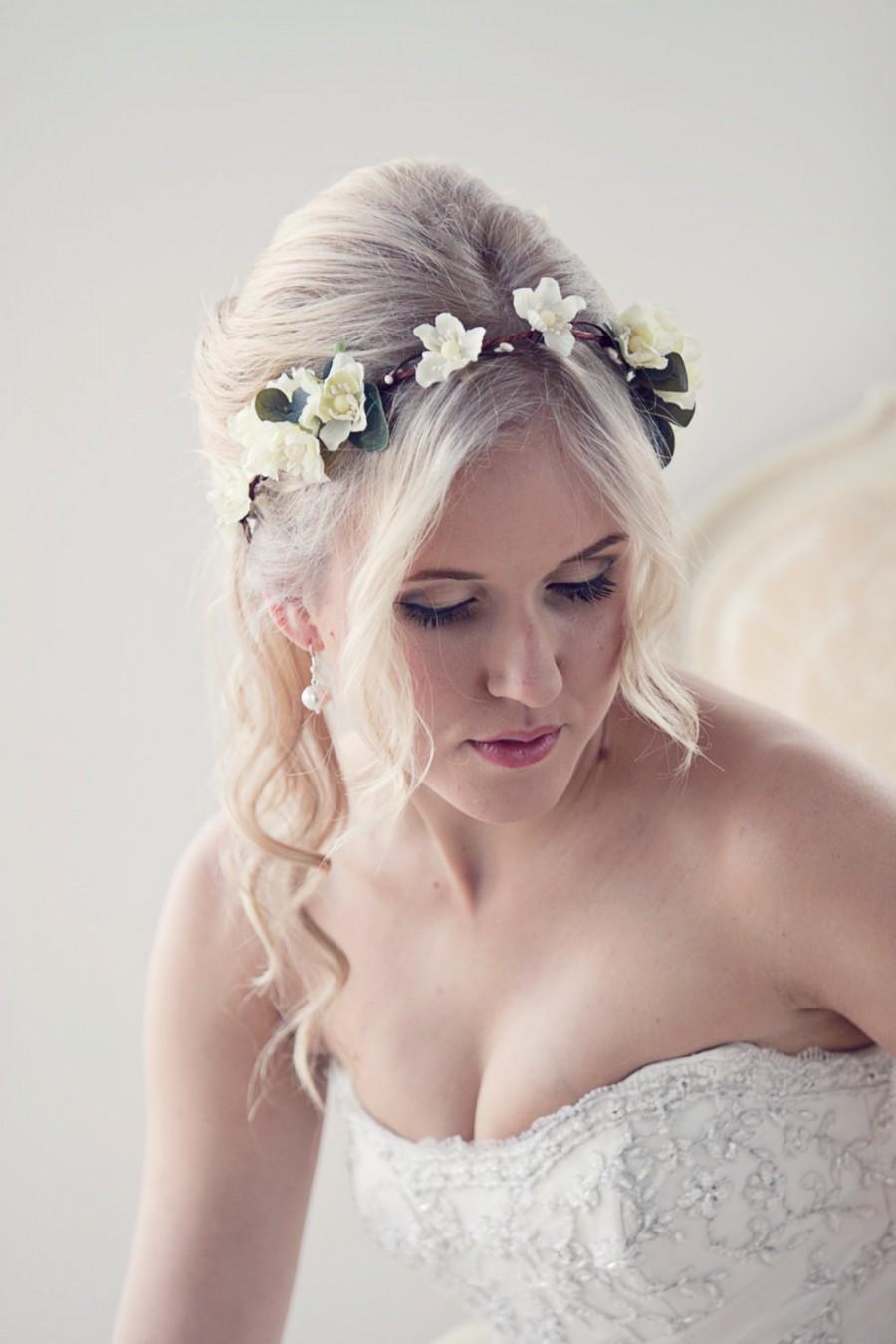 flower crown floral headband bridal crown wedding circlet ivory bridal hair piece flower hair wreath floral crown bridal headpiece