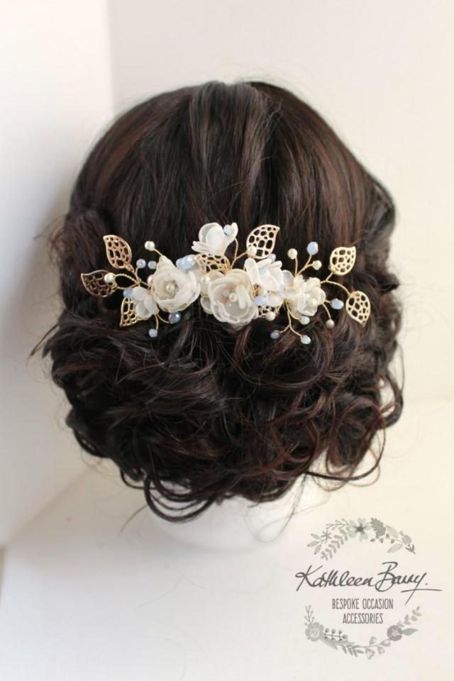 r790 soft gold rose gold hair comb hairpiece soft blue