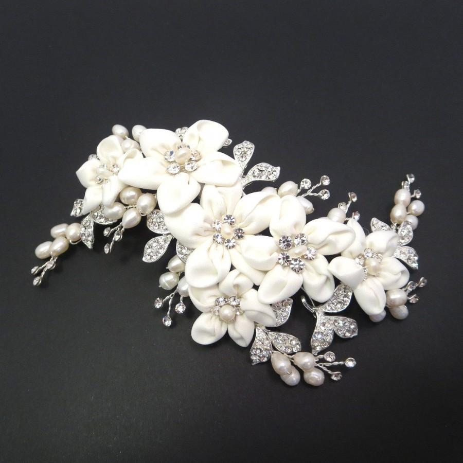 bridal hair clip bridal headpiece flower headpiece wedding hair clip bridal hair comb rhinestone hair clip