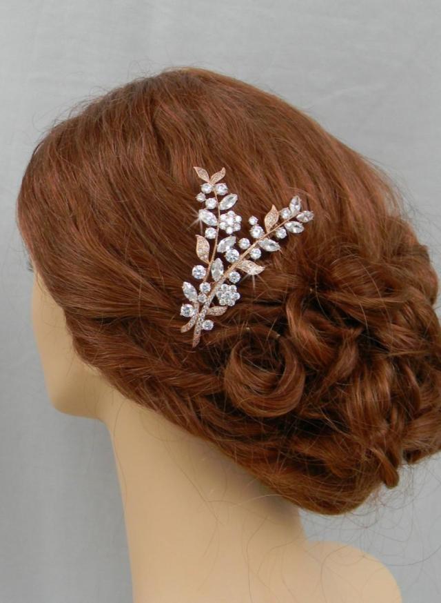 rose gold hair comb, bridal headpiece, leaf wedding comb