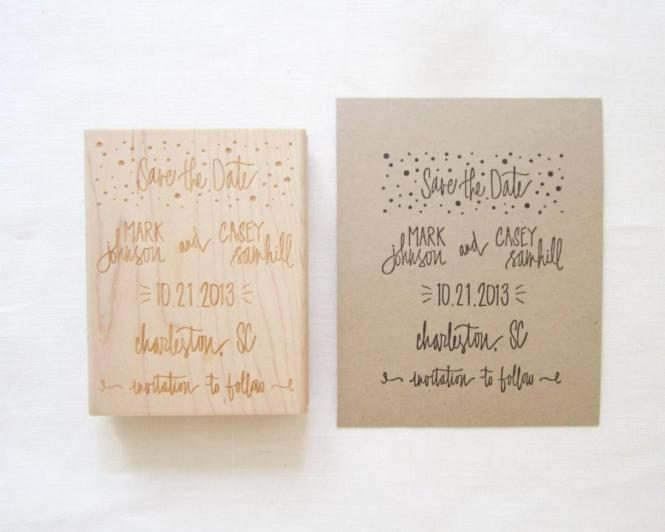 Save The Date Stamp Custom Hand Lettered