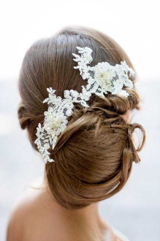bridal lace hair accessory. handmade bridal lace hair piece