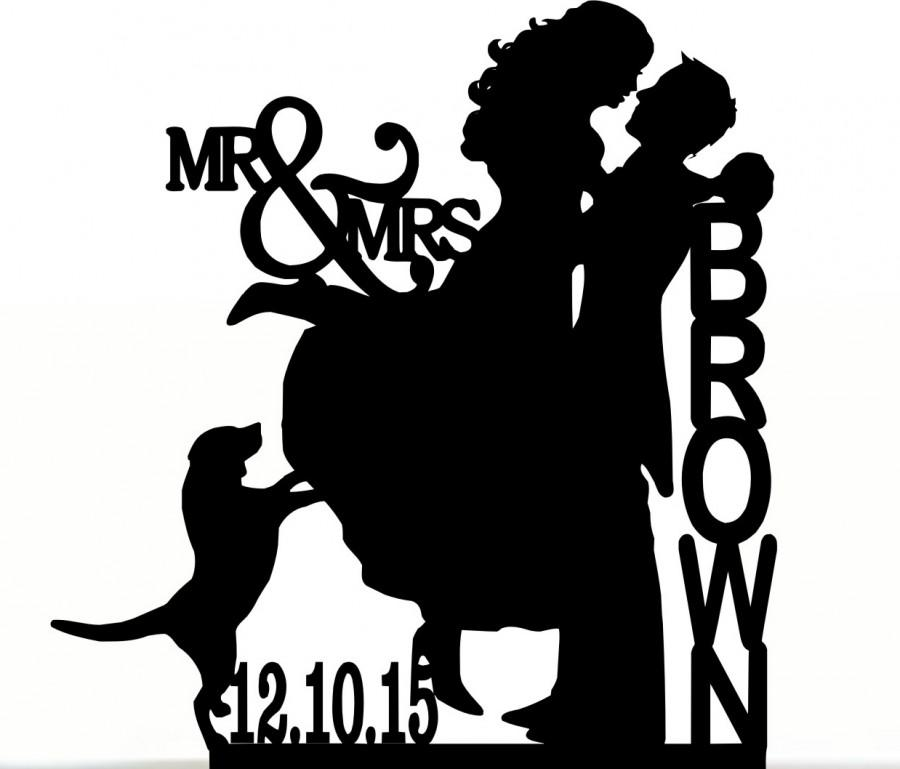 Custom Wedding Cake Topper Couple Silhouette And Any Dog