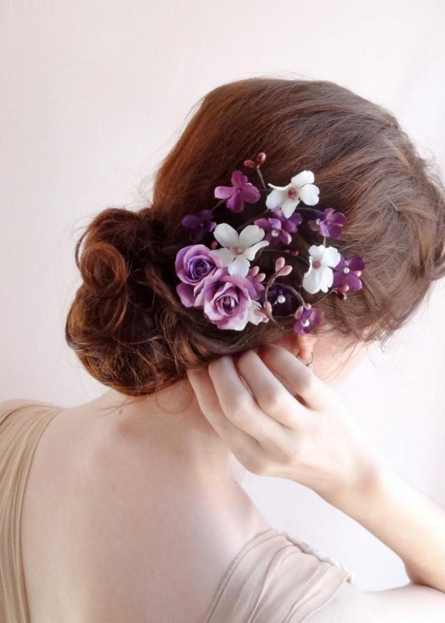 purple wedding hair accessories, bridal hair clip, floral