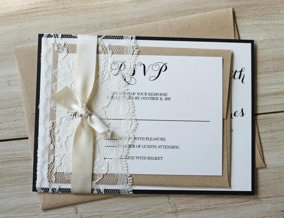 Rustic Wedding Invitation Lace Classic