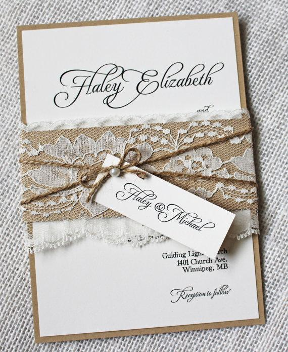 Rustic Wedding Invitations Lace Invitation Shabby