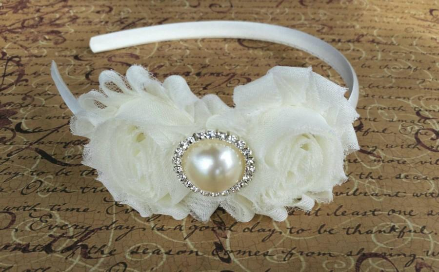 ivory shabby chic flower girl headband baby hair bows wedding headband baby headband hard headband toddler headband bridesmaid