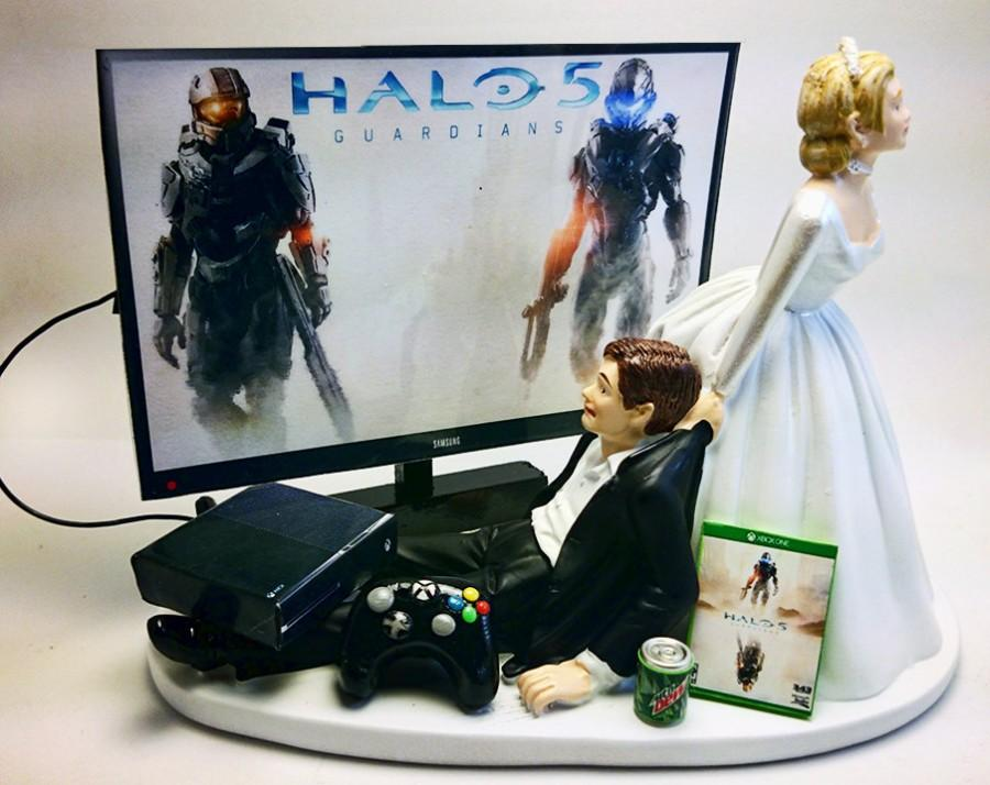 Gamer Addict Funny Xbox One Wedding Cake Topper Bride And