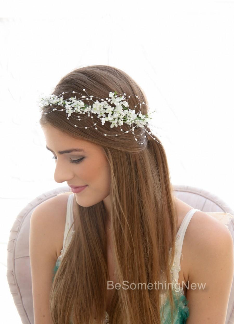 Romantic Wedding White Flower Crown With Pearls Beaded