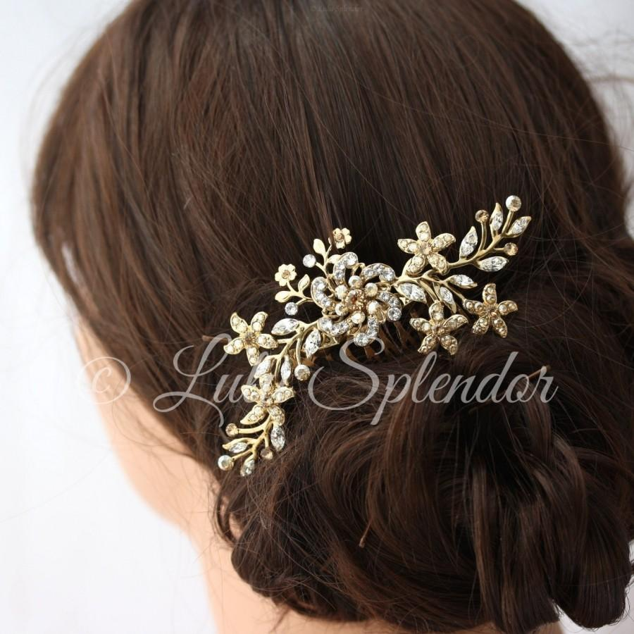 gold bridal hair comb sparkly crystal flower comb ivory pearl vintage leaves wedding hair accessories sabine
