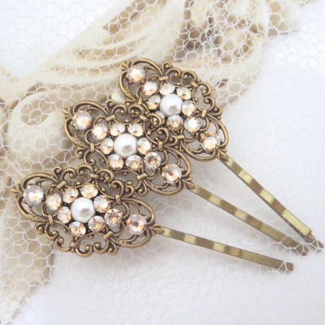 wedding hair pins, bridal hair pins, bobby pins, swarovski