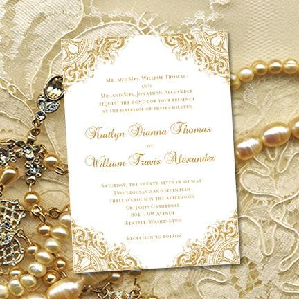Gold Vintage Wedding Invitations Or