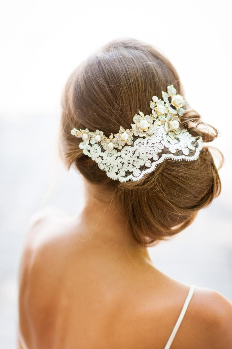 Ivory Wedding Hair Pieces Gold Crystals And Ivory Lace