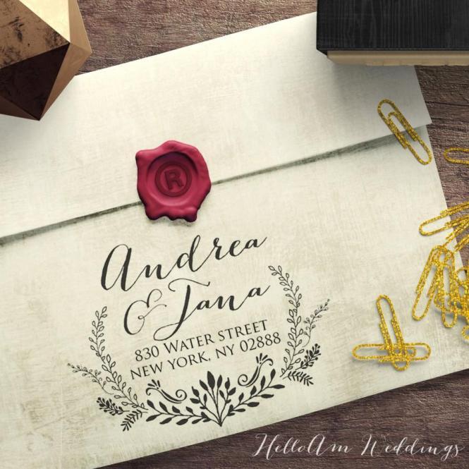 Custom Return Address Stamp Self Inking Personalized Rubber Invitation Wedding Gift Hs115p