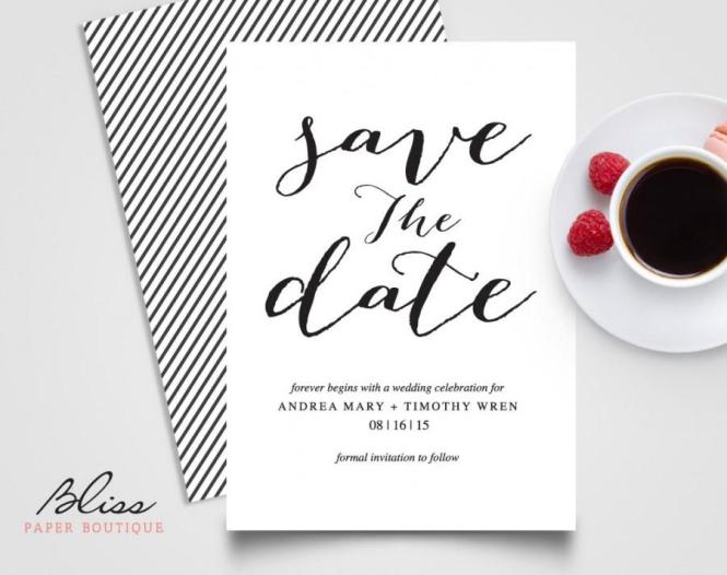 Black And White Custom Printable Save The Date