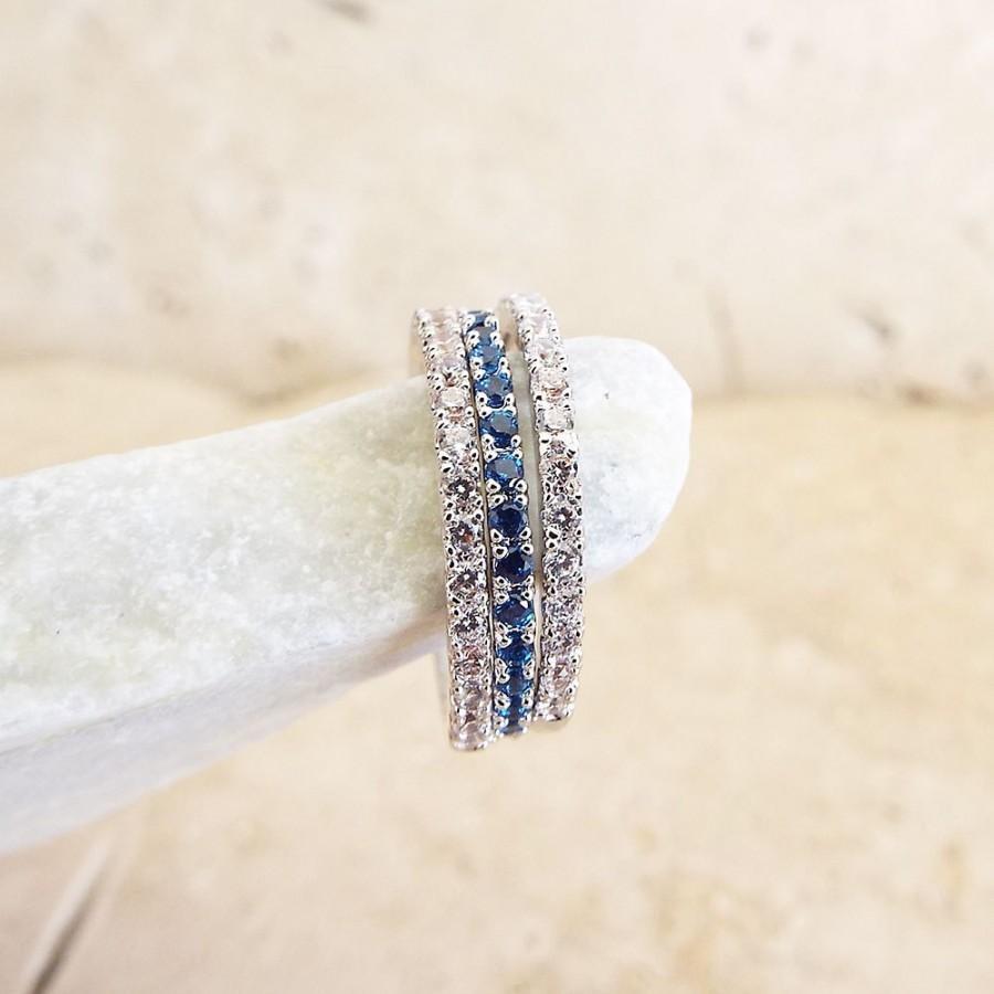 Sapphire Diamond Full Eternity Ring CZ Blue Sapphire Micro