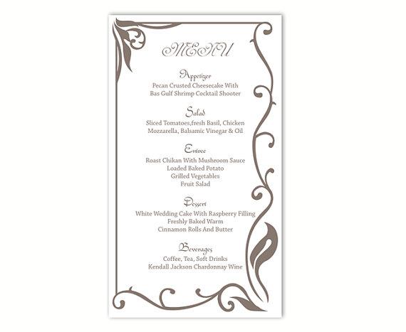 Menu Template Printable. 8 best images of wedding menu card ...