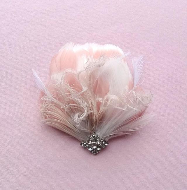 bridal feather headpiece, wedding hair accessories, blush