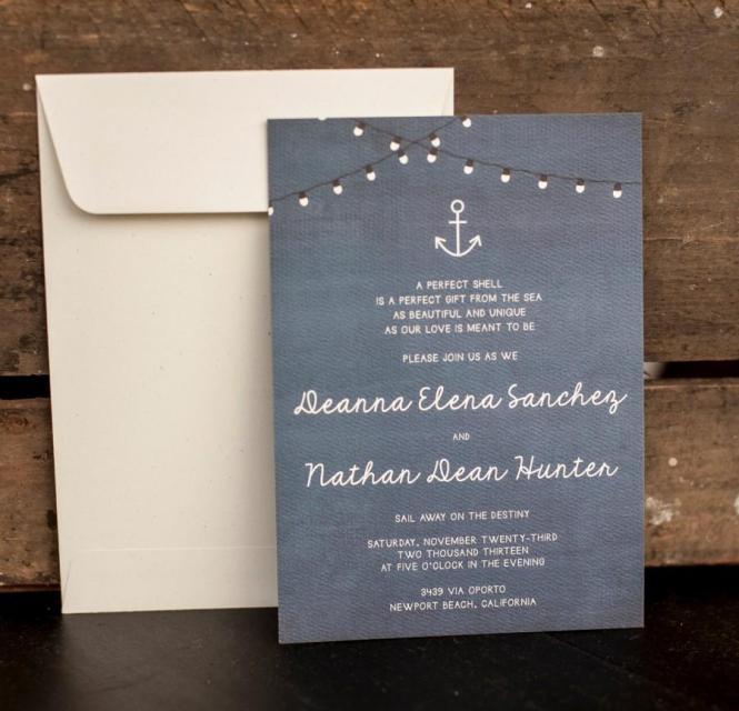 Wedding Invitation Rustic Nautical