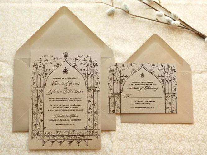 Once Upon A Time Kraft Garden Wedding Invitations Fantasy