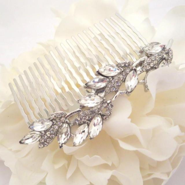 simple wedding hair comb, bridal hair comb, rhinestone hair