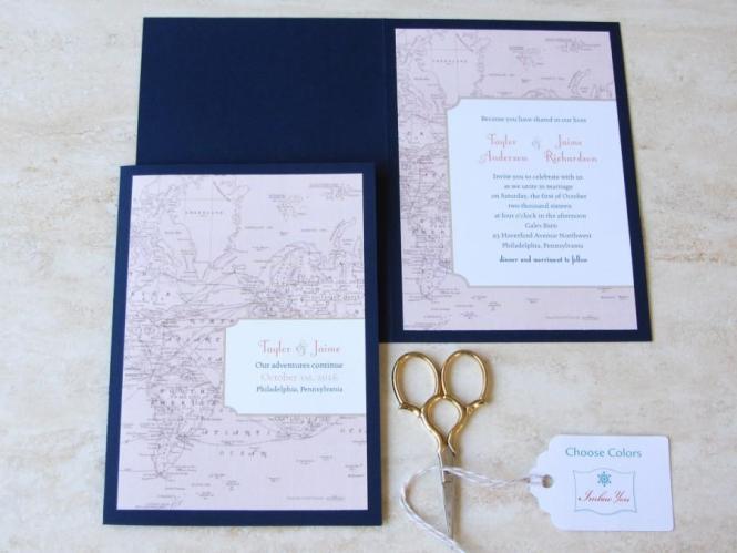 Vintage Wedding Invitation Booklet Map