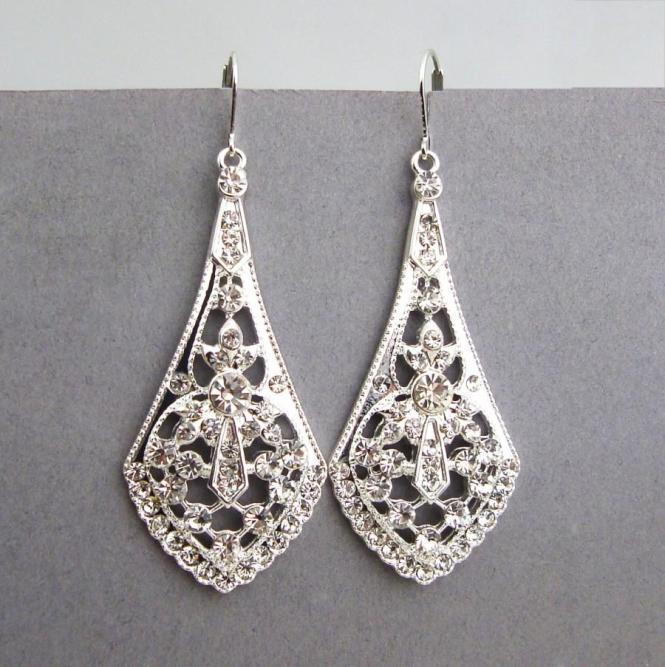 Art Deco Style Silver Filigree Bridal Earrings Chandelier Vintage Rhinestone Wedding Jewelry Anya