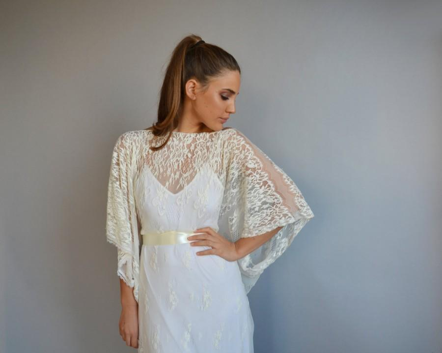 Lace Wedding Dress, Kimono Sleeves,all Lace Wedding Dress