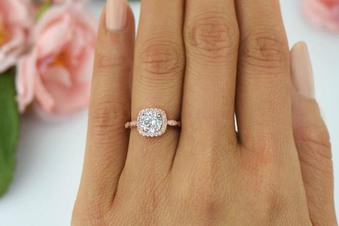 1 25 Ctw Halo Engagement Ring Man Made Diamond Simulants Art. Rose Gold ...