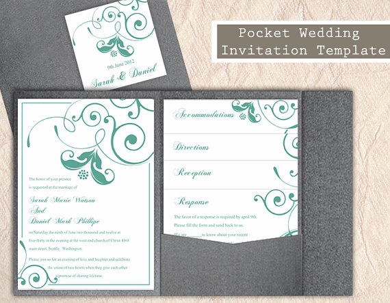 Elegant Green Spring Flower Wedding Invitation Cards Ewi146