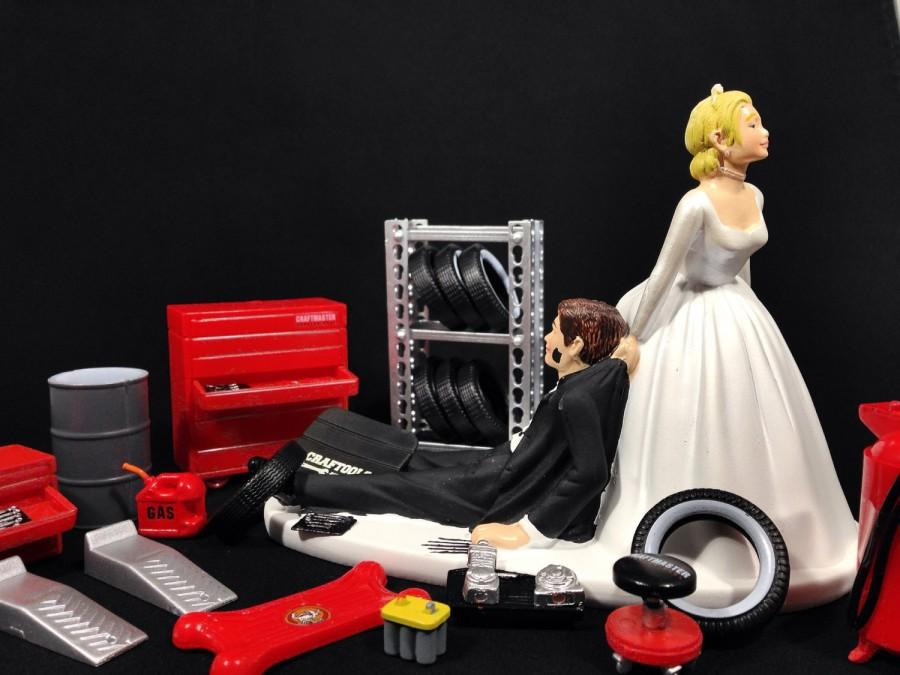 Funny Wedding Cake Topper For Mechanics   Perfect For Groom s Cake     Funny Wedding Cake Topper for Mechanics   Perfect for Groom s Cake   Humorous  Cake Topper Comes with Miniature Garage Accessories