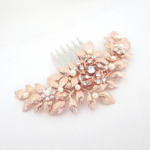 rose gold hair comb, bridal hair comb, rose gold headpiece