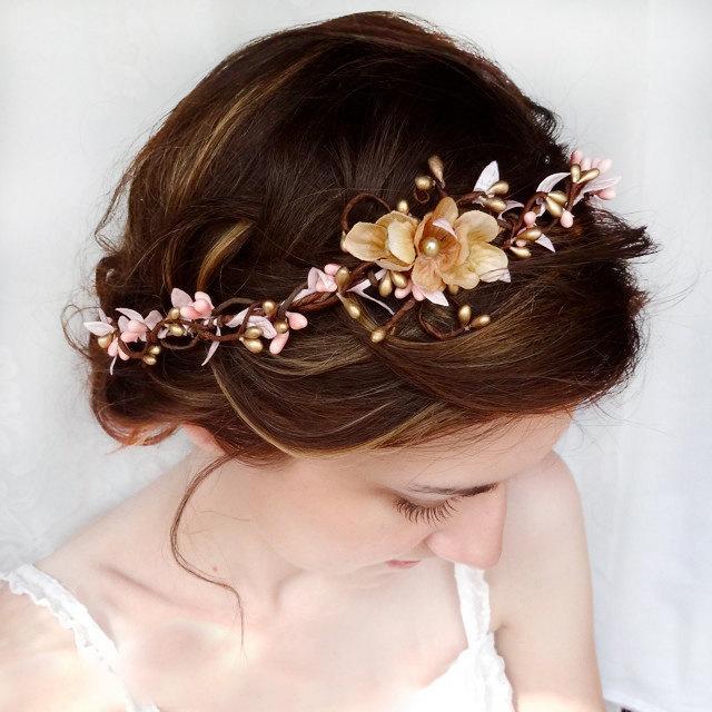 bridal headband pink and gold wedding hair accessories flower headpiece floral crown bridal hair pieces wedding headpiece blush pink