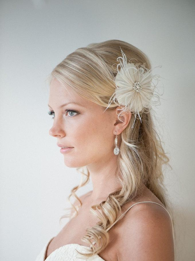 wedding hair accessory feather hair clip wedding fascinator bridal headpiece ivory and light gold simone