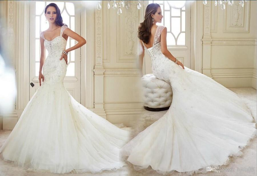 2014 New Arrival Sexy Mermaid Wedding Dresses Applique